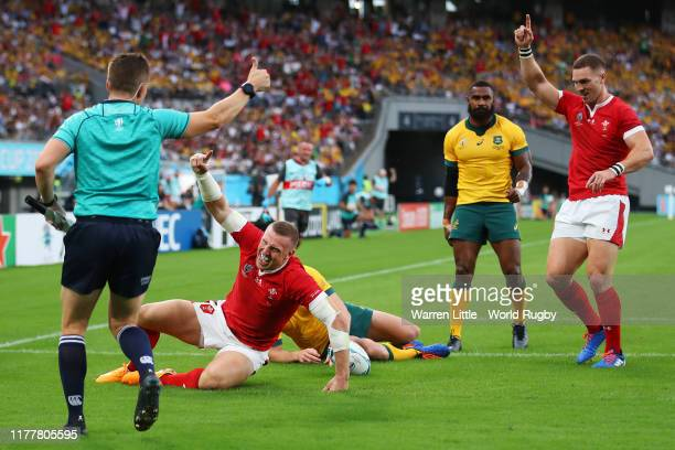 Hadleigh Parkes of Wales celebrates scoring his sides first try during the Rugby World Cup 2019 Group D game between Australia and Wales at Tokyo...