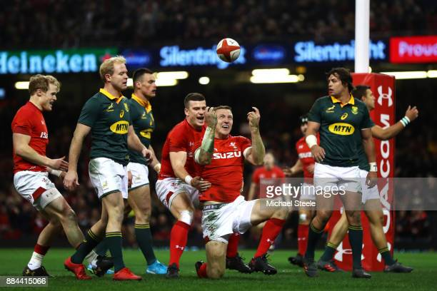 Hadleigh Parkes of Wales celerbates after scoring his sides second try during the international match match between Wales and South Africa at...