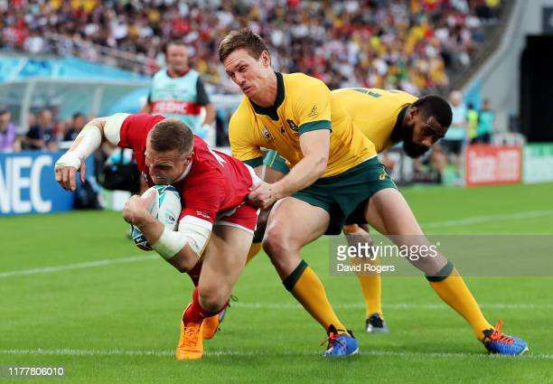 Hadleigh Parkes of Wales goes over to score his team's first try during the Rugby World Cup 2019 Group D game between Australia and Wales at Tokyo...