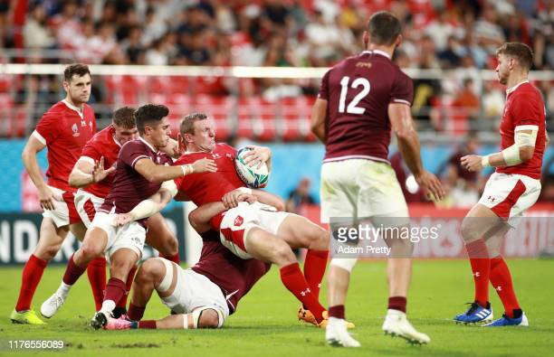 Hadleigh Parkes of Wales is tackled during the Rugby World Cup 2019 Group D game between Wales and Georgia at City of Toyota Stadium on September 23...