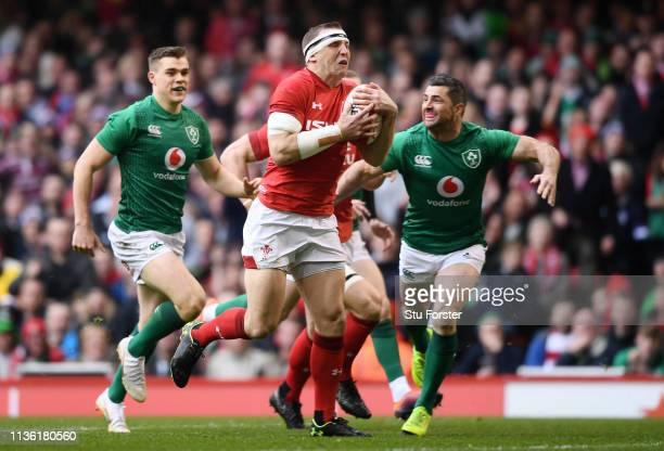Hadleigh Parkes of Wales on the way to scoring his sides first try during the Guinness Six Nations match between Wales and Ireland at Principality...