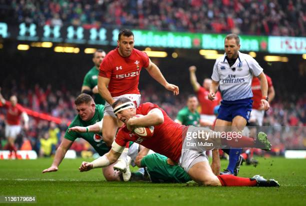 Hadleigh Parkes of Wales scores his sides first try during the Guinness Six Nations match between Wales and Ireland at Principality Stadium on March...