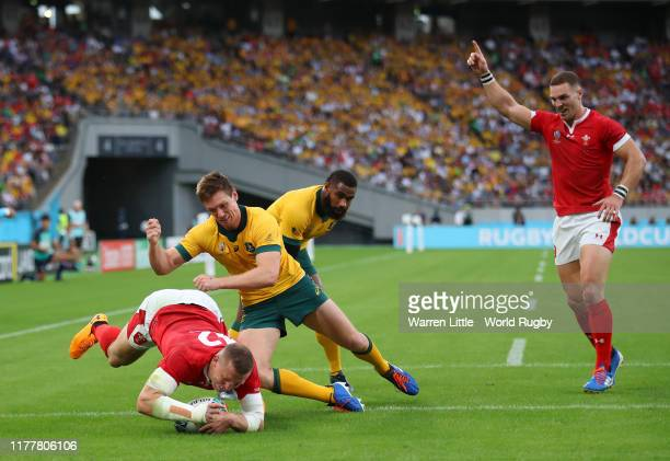 Hadleigh Parkes of Wales touches down for his team's first try during the Rugby World Cup 2019 Group D game between Australia and Wales at Tokyo...