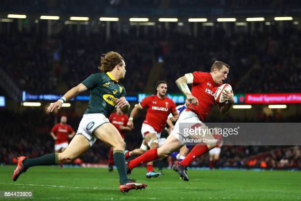 Hadleigh Parkes of Wales touches downn for the third try during the international match match between Wales and South Africa at Principality Stadium...