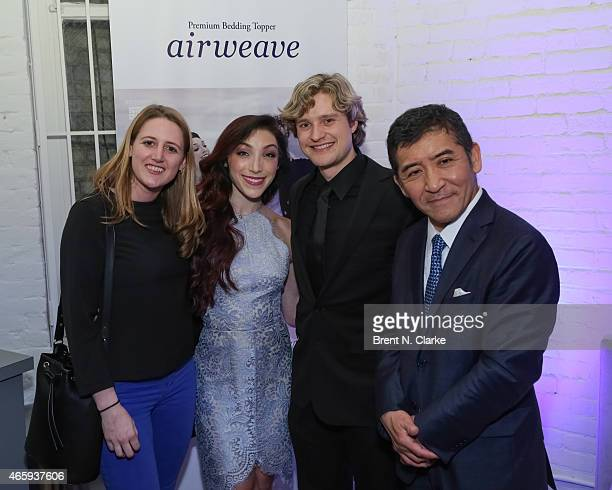 Hadley Keller 2014 Olympic Gold Medal Ice Dancing champions Meryl Davis and Charlie White and Airweave President and CEO Motokuni Takaoka attend the...