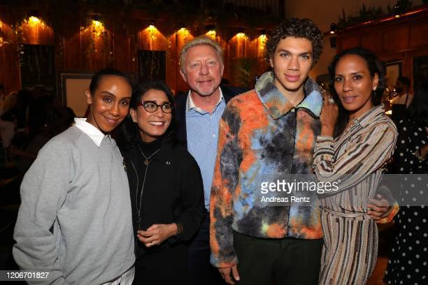 Hadnet Tesfai Laureus Academy Members Nawal El Moutawakel Boris Becker with son Elias Becker and Barbara Becker attend She's Mercedes prior to the...