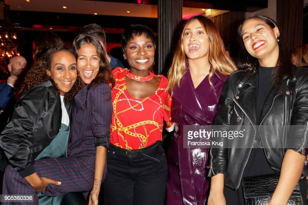 Hadnet Tesfai Rabea Schif Nikeata Thompson Wana Limar and Bianca Ruessel during the Bunte New Faces Night at Grace Hotel Zoo on January 15 2018 in...