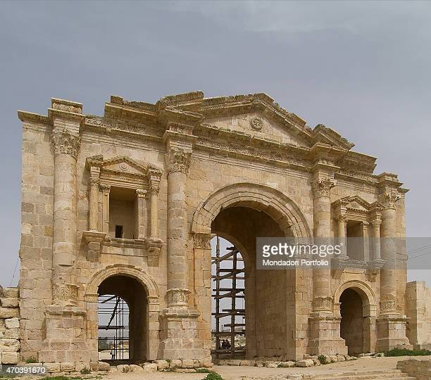 'Hadrian's Arch 2nd Century AD stone building Jordan Jerash Whole artwork view View of the Arch of Adrian from south after the restoration built to...