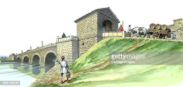 Hadrian's Wall Chesters Bridge Abutment c2nd century Reconstruction drawing of Chesters Bridge Northumberland A Roman bridge over the River North...