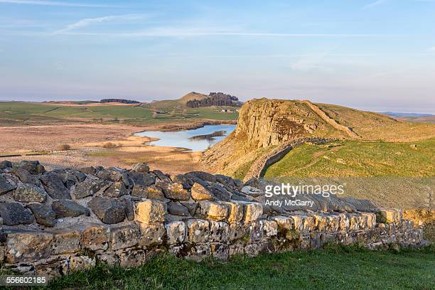 hadrian's wall, evening sunset - northumberland stock pictures, royalty-free photos & images