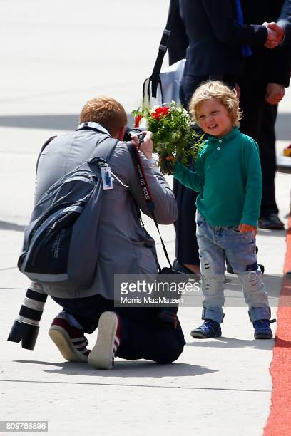 Hadrien Trudeau, son of Canadian Prime Minister Justin Trudeau, has his photo taken as the family arrives at Hamburg Airport for the Hamburg G20...