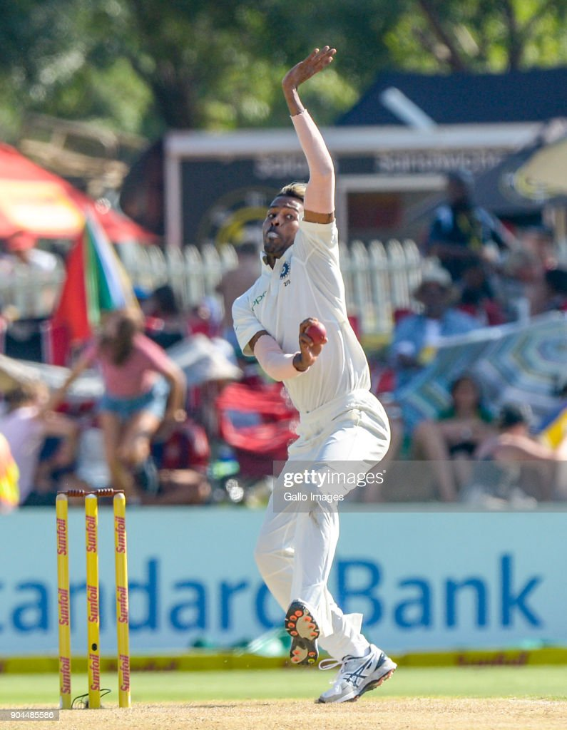 Hadrik Pandya of India during day 1 of the 2nd Sunfoil Test match between South Africa and India at SuperSport Park on January 13, 2018 in Pretoria, South Africa.