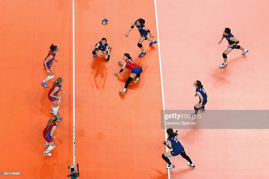 Hae Ran Kim of Korea plays a shot during the Women's Preliminary Pool A match between Korea and Russia on Day 3 of the Rio 2016 Olympic Games at the Maracanazinho on August 8, 2016 in Rio de Janeiro, Brazil.