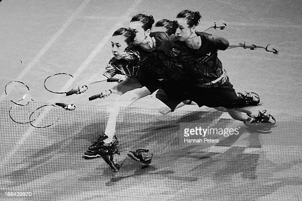 Hae Won Kang of Korea plays a shots in the Women's singles semi final match against Deng Xuan of China during the New Zealand Badminton Open at North...