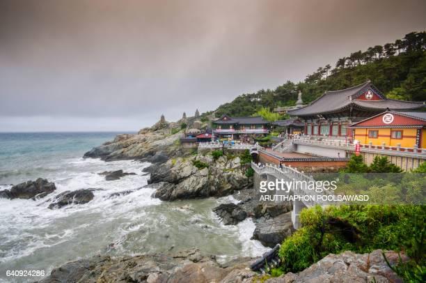 haedong yonggungsa temple and haeundae sea busan, south korea - busan stock pictures, royalty-free photos & images