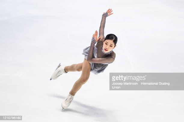 Haein Lee of Korea competes in the Junior Ladies Short Program during day 3 of the ISU World Junior Figure Skating Championships at Tondiraba Ice...