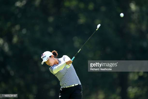 Haeji Kang of Korea plays her second shot on the third during Day One of the AIG Women's British Open at Woburn Golf Club on August 01, 2019 in...