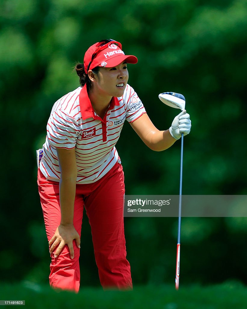 Haeji Kang of South Korea plays a shot during the second round of the Walmart NW Arkansas Championship Presented by P&G at the Pinnacle Hills Country Club on June 22, 2013 in Rogers, Arkansas.