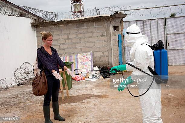 haemorrhagic epidemic of fever caused by the Ebola virus disinfection at the Island Clinic new treatment center in the suburb of Monrovia on...