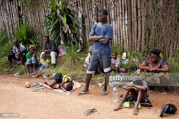 haemorrhagic epidemic of fever caused by the Ebola virus patients waiting at the entrance of the Island Clinic new treatment center in the suburb of...