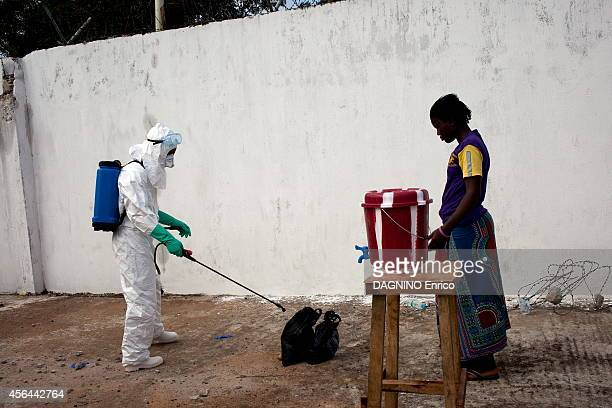 haemorrhagic of fever caused by the Ebola virus disinfection at the Island Clinic new treatment center in the suburb of Monrovia on September 23 2014