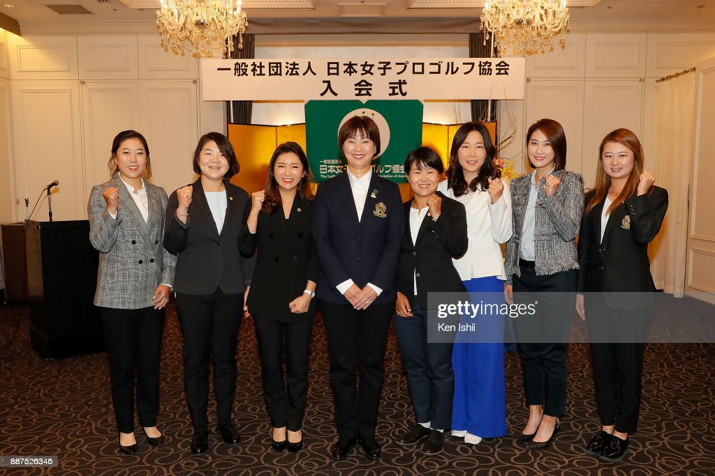Hae-Rym Kim, Min-Young Lee, Bo-Mee Lee of South Korea, LPGA president Hiromi Kobayashi, Nasa Hataoka of Japan, Soo-Yun Kang, Ha-Neul Kim of South Korea and Haruka Morita of Japan pose for group photos during the Ladies Professional Golfers' Association of Japan induction ceremony at Hotel Monterey Ginza on December 7, 2017 in Tokyo, Japan.