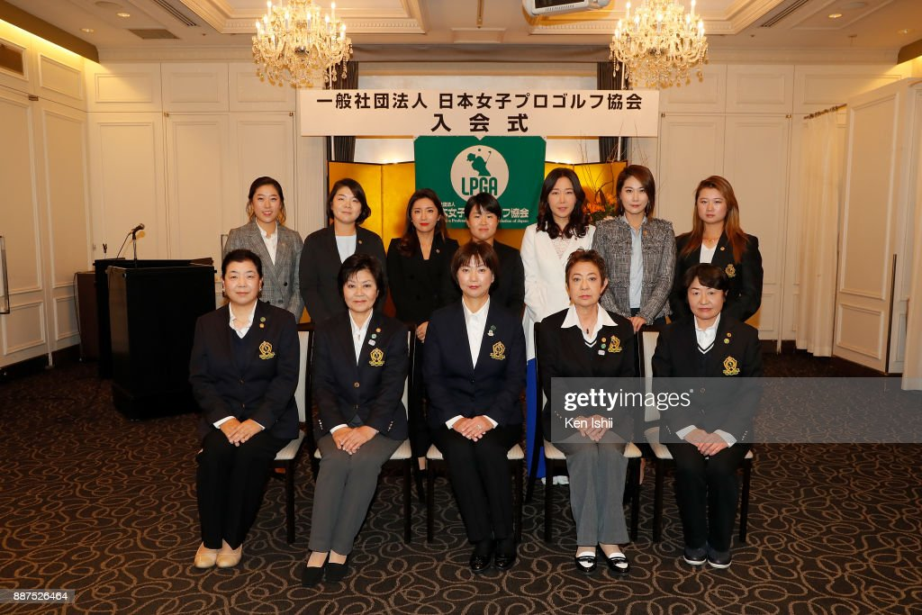 Hae-Rym Kim, Min-Young Lee, Bo-Mee Lee of South Korea, Nasa Hataoka of Japan, Soo-Yun Kang, Ha-Neul Kim of South Korea and Haruka Morita of Japan pose for group photos during the Ladies Professional Golfers' Association of Japan induction ceremony at Hotel Monterey Ginza on December 7, 2017 in Tokyo, Japan.