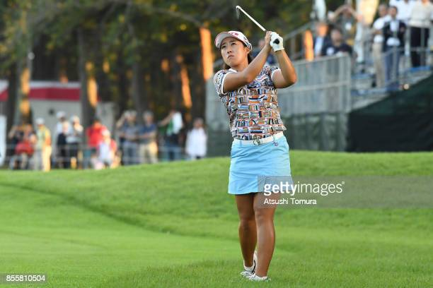 HaeRym Kim of South Korea hits her second shot on the 18th hole during the third round of Japan Women's Open 2017 at the Abiko Golf Club on September...