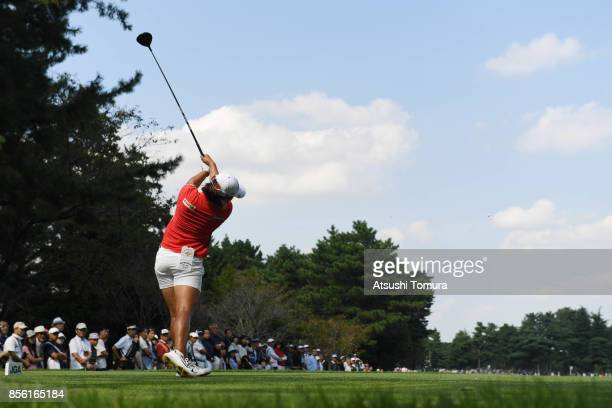 HaeRym Kim of South Korea hits her tee shot on the 8th hole during the final round of Japan Women's Open 2017 at the Abiko Golf Club on October 1...
