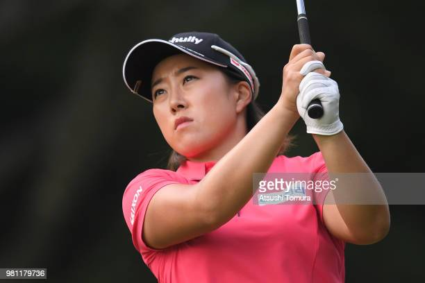 Asuka Ishikawa of Japan hits her tee shot on the 12th hole during the second round of the Earth Mondahmin Cup at the Camellia Hills Country Club on...
