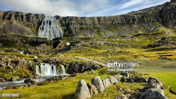 haestahjallafoss cascade waterfall, iceland - skaftafell national park stock photos and pictures