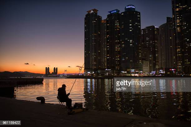 Haeundae Skycrapers and A Fisherman