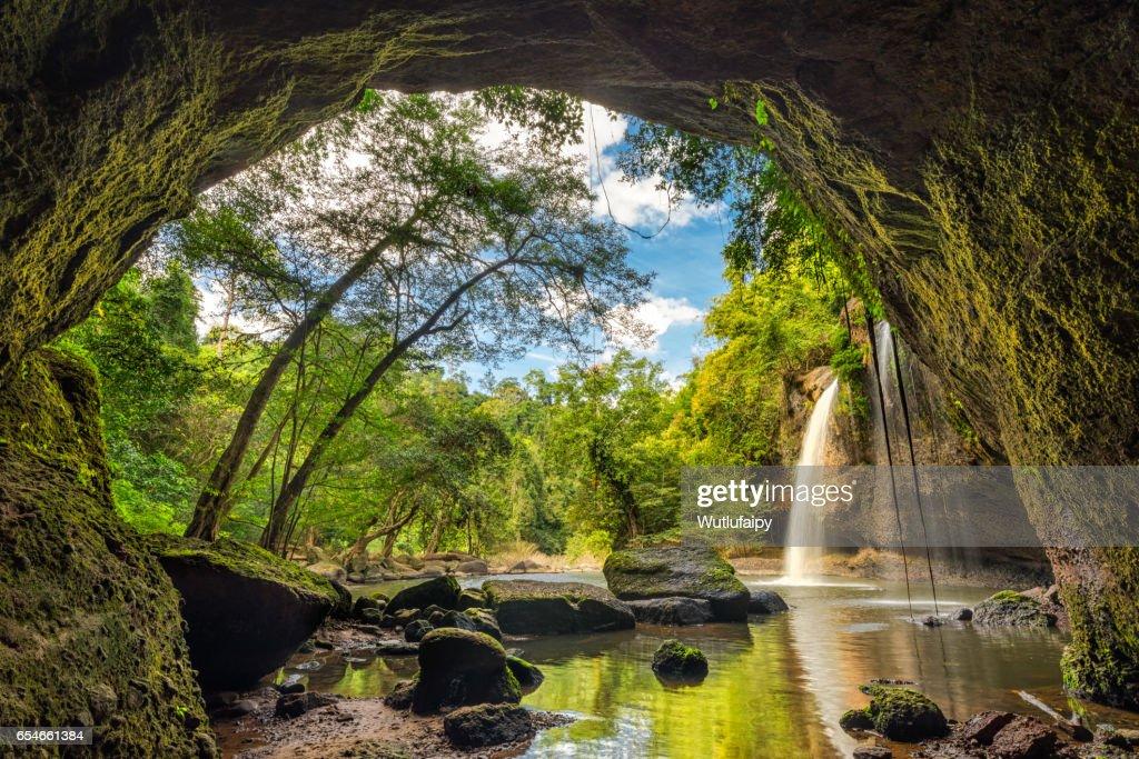 Haew Suwat Waterfall : Stock Photo