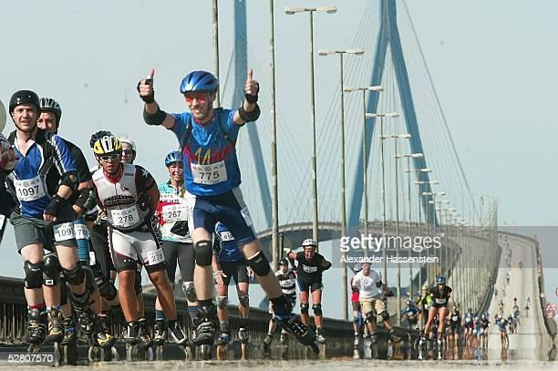 Hafen City Inline Marathon 2003 Hamburg Skater auf der Koehlbrandbruecke