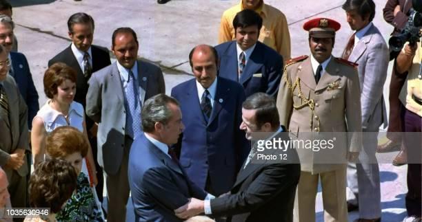 Hafez alAssad President of Syria 1971 2000 Greets President Nixon of the USA at Damascus in 1974