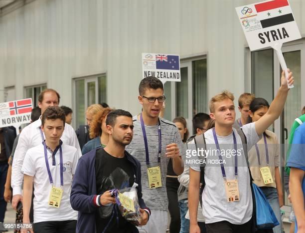 Hafez alAssad son of Syrian President Bashar alAssad attends the International Maths Olympics in Cluj Napoca city July 10 2018 Hafez alAssad is one...