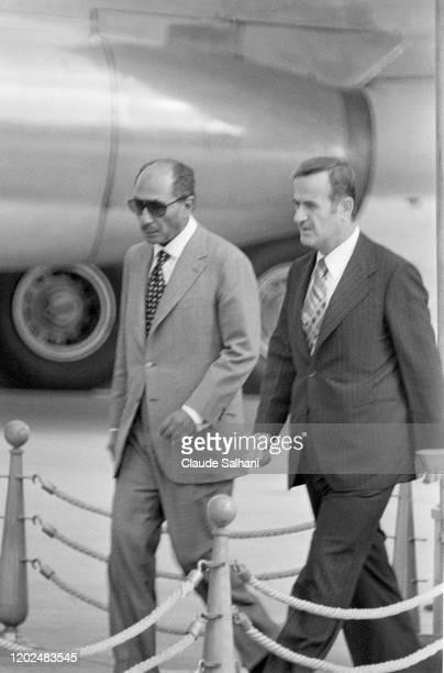 Hafez el-Assad président de la Syrie rencontre le Président Sadat à Damas