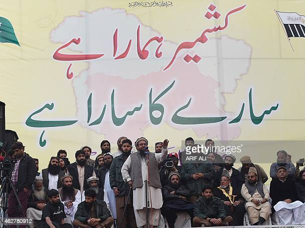 Hafiz Muhammad Saeed head of the banned Pakistani charity organisation JamaatudDawa addresses demonstrators during a protest to mark Kashmir...