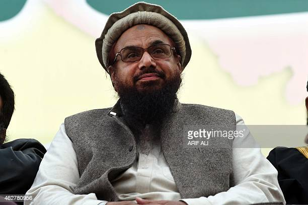 Hafiz Muhammad Saeed head of the banned Pakistani charity organisation JamaatudDawa attends a protest to mark Kashmir Solidarity day in Lahore on...