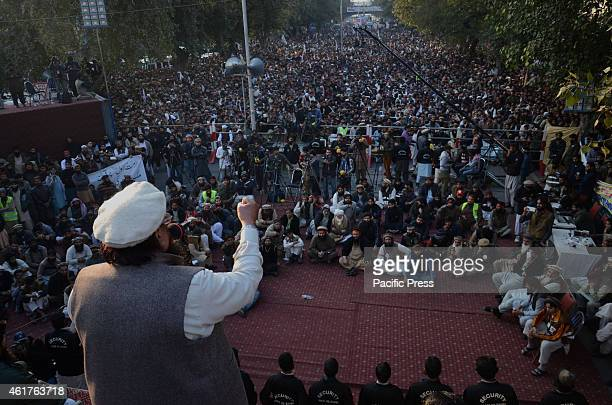 Hafiz Saeed head of the banned Islamic charity JamatudDawa addresses demonstrators during a rally against a decision by the controversial French...