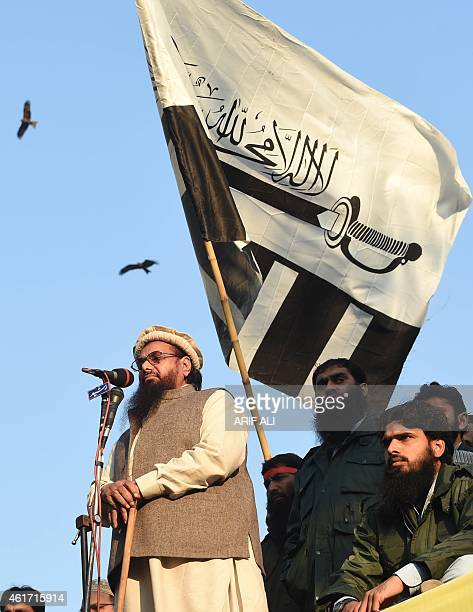 Hafiz Saeed leader of JamaatudDawah Pakistan addresses demonstrators during a protest against the printing of satirical sketches of the Prophet...