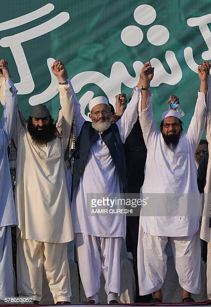 Hafiz Saeed leader of the hardline Pakistani organisation JamaatudDawa head of the militant group of Hizbul Mujahideen Sayed Salahuddin JamaatiIslami...