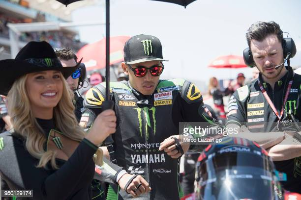 Hafizh Syahrin of Malaysia and Monster Yamaha Tech 3 prepares to start on the grid during the MotoGP race during the MotoGp Red Bull US Grand Prix of...