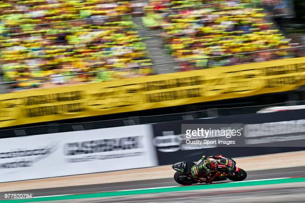 Hafizh Syahrin of Malaysia and Monster Yamaha Tech 3 rides during MotoGP race of Catalunya at Circuit de Catalunya on June 17 2018 in Montmelo Spain