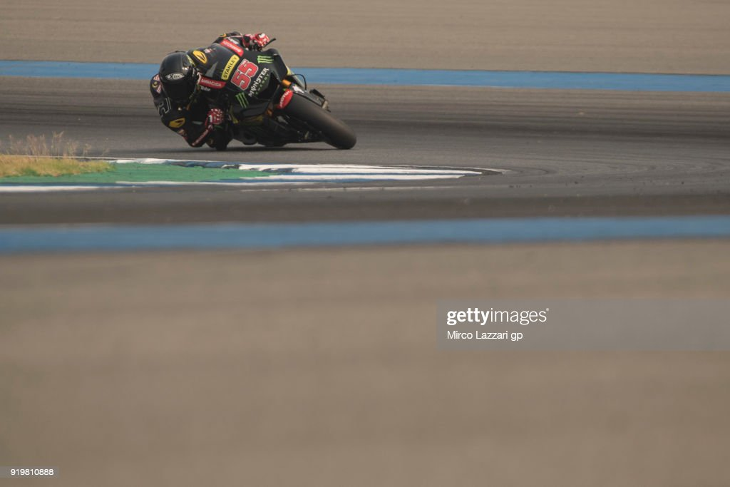 Hafizh Syahrin of Malaysia and Monster Yamaha Tech 3 rounds the bend during the MotoGP Tests In Thailand on February 18, 2018 in Buri Ram, Thailand.