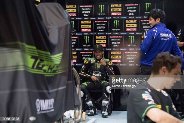 Hafizh Syahrin of Malaysia and Monster Yamaha Tech 3 smiles in box during the Moto GP Testing Qatar at Losail Circuit on March 3 2018 in Doha Qatar