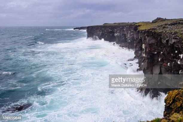 hafnarberg cliffs on iceland - marek stefunko stock pictures, royalty-free photos & images