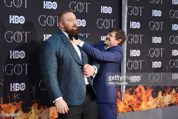 Hafþor Julius Bjornsson and Pedro Pascal attend the Game Of Thrones season 8 premiere on April 3 2019 in New York City