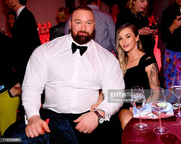 """Hafþór Júlíus Björnsson and Kelsey Henson attend the """"Game Of Thrones"""" Season 8 Premiere After Party on April 03, 2019 in New York City."""