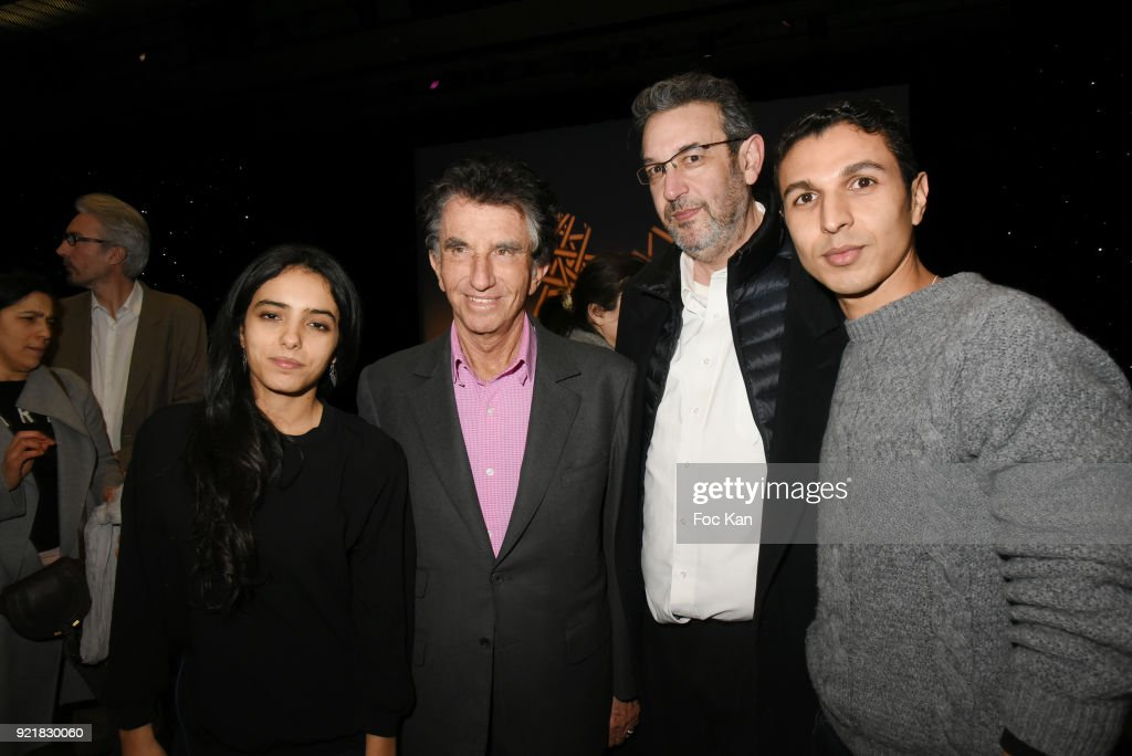 Hafsia Herzi, Jack Lang, director Mehdi Ben Attia and actor Karim Ait M'Hand attend 'L'Amour Des Hommes' : Premiere At Institut du Monde Arabe on February 20, 2018 in Paris, France.
